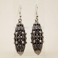EQ019 Unique Tibetan Silver 3D Hollow Drop Dangle Fashion Vintage Earrings For Women Girls Wholesale 2014 New Jewelry