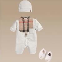 Hot sale baby boy wear romper plaid 100% cotton hat +romper+sock 3 pieces set bebe