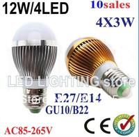 led bulb Lamp 3*3W ( 9w ) 5*3w (15w) 100-240V warm white dimmable led bulb E27 E26 B22 E14 Bulb Light