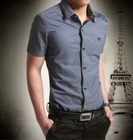 Commercial 2014 men's clothing casual shirt short-sleeve shirt slim denim shirt cotton