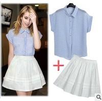 summer fashion Women's Turn Down Collar Plaid Fashion Shirts + A Line Skirts Street Style Twinset Dresses S M L XL