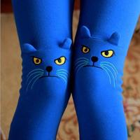 Korea Style Cute Stereoscopic Cat Embroidery Leggings For Women Candy Colors Plus Size Leggin