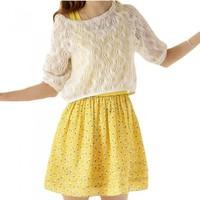Cute Women Mini Dress Geometric Print Flared Skater Tank Dress Crochet Top Two-piece