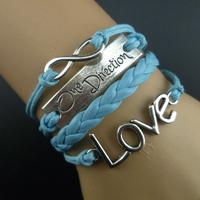 Accessories one direction band bracelet love one-way b2-087, DIY weave bracelets, 5pcs/lots