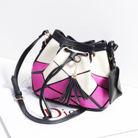 2013 women's bags fashion geometry patchwork vintage drawstring bucket  messenger   desigual bag bolsas leather bags