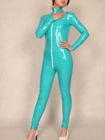 Lake blue Pvc bright paint leather composite coating  Zentai sexy Suit full body  tights Costumes-Super smooth sexy