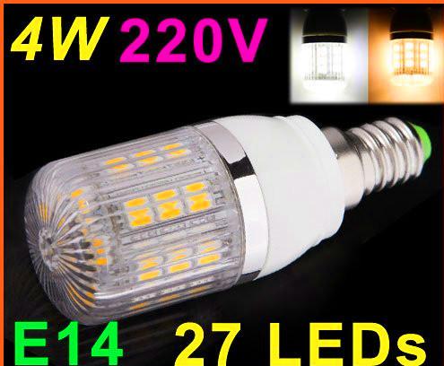 Wholesale 220V 4W E14 LED Bulb Lamp with 27 SMD5050 LED Corn Light Free Shipping(China (Mainland))