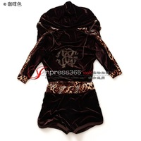 2014 new gold velvet hooded zip cardigan leisure suit drilling hot bat sleeve shorts sports suit