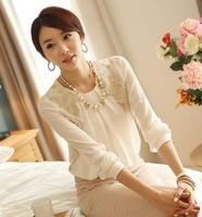 2014 hot sale women's fashion white Bud silk Long sleeve T-shirt lady top