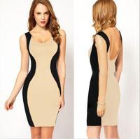 2014 new hot summer dress fashion cozy sexy dress elegant women dress slim backless pencil package buttocks casual girl dress WA