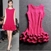 2014 new hot Fashion Cozy women casual dress cloth elegant summer dress Europe black fungus edge slim 6 color lotus leaf dress