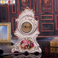 Ceramic clock fashion vintage rustic clocks countertop clock mute quartz clock decoration