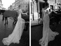 Free shipping OP-09 Fashion Sheath Big V-neck Open back Wedding Dress Party dress Custom-made