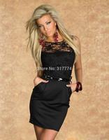 New women Slim sexy hot black lace leotard Muze wholesale clothing clubwear  nightclub dress 3224