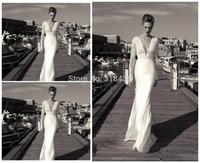 Free shipping C0909 Fashion Sheath Big V-neck Lace Satin Wedding Dress Party dress Custom-made