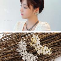 2014 new design flower earring clip full crystal earring cuff women's fashion jewelry accessories