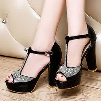 2014 New Sandals Corium Rhinestone Waterproof Taiwan   high heels Fashion shoes  women sandals DunHu926