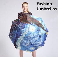 free shipping new fashion designed black coating sunny rainy sun protection umbrella 3-folding anti-uv 50 women's oil painting