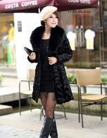 2013 new Korean imitation mink hair styling pattern in the long section of female coat imitation Fox Fur Collar Coat special