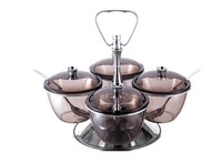 Wholesale - Free shipping Kinox quality Tinted Transparent Condiment Servers 8053P/4 with four bowls