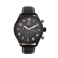 Free Ship,2014 New Russian Style XXL Case Jumbo 6hands Military Chronograph Men's Quartz Stop Watch, Black Dial &Leather Strap