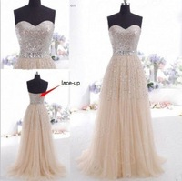 Free Shipping SJ72 Fashion  Long Prom dress Tulle Champange Beads Bridesmaid dresses Evening dress