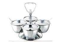Wholesale - Free shipping Kinox quality 18/10 Stainless Steel Condiment Servers 8053/4 with four bowls