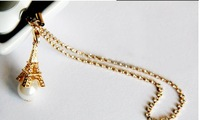 2014 Effier Twoer Pearl Long Chain Strip Gold Planted Dust Plugs Mobile Phone General 3.5mm Jacinths Earphones Jack Plug B091
