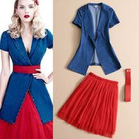 New 2014 Spring Summer Fashion women's dress European American retro Cowboy Blazer Mesh PengPeng dress suit