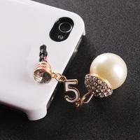 2014 Rushed Pearl Ball Casing Rhinestone Digtal Dust Plugs Mobile Phone General 3.5mm Jacinths Earphones Earphone Jack Plug B098