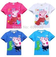 Wholesale New 2014 Peppa Pig T-shirt Blue Pink Children T shirt Girls Clothes Boy Tees 100% Cotton Kintted Short Tees