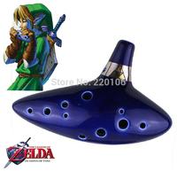 Legend of Zelda Ocarina of Time 12 Holes Mediant C Tone Ocarina Zelda figure toy High Quality 10 PCS/LOT Free shipping