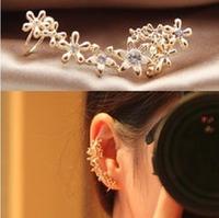 New special flower flash drilling padded U-shaped ear deduction pierced ears clip eagrrins(1 piece)