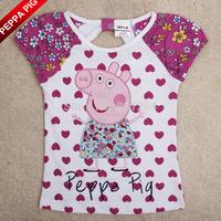 2015 New Arrival Nova Kids Girl Peppa Pig T shirt 100% Cotton Short Sleeve Heart Design Children Clothing Drop Shipping