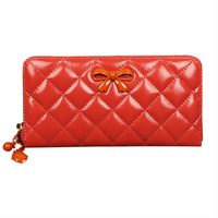 2014 Hot women long section of genuine wax Pilar chain Quilted bow clutch purse