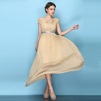 Long Dress Woman Summer 2014 Fashion Solid Color O-neck Pleated Floor Length Dresses