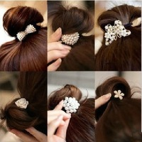 wholesale 12pcs/lot Fashion Crystal Rhinestone Pearl Hair Band Tie Elestic Ponytail Holder US SELLER