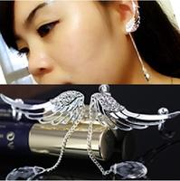 2014 Fashion Wedding Jewelry Silver Wings Earrings With Pendant Ear Cuff  drop Earrings For Women Cheap Gift free shipping