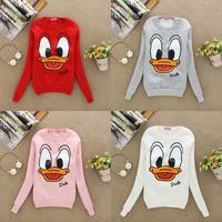 2014 Fashion Women Funny Animal Sportswear Cartoon Donald Duck print Pullovers Sweatshirts Hoodies sweaters Tops