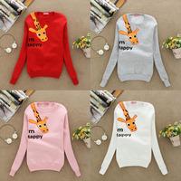 2014 Hot sale!! Women's Hoodies Sweatshirts Funny Happy Giraffe Outerwear Hooded Ladies fashion cartoon Coat free shipping