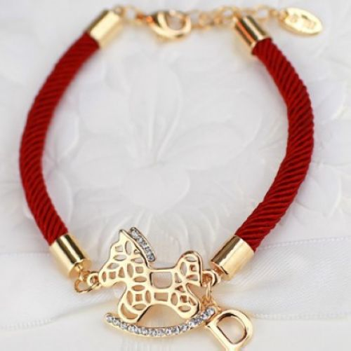 Red string bracelet Zircon letter horse bracelet(China (Mainland))