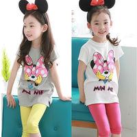 Free Shipping! 2014 Summer New Childrens Fashion Clothing Set,Girls Cartoon Minne Short-sleeve T-shirt + Pants Kids Clothes Set,