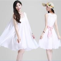 2014 ultralarge spring and summer chiffon skirt one-piece dress  plus size chiffon skirt female