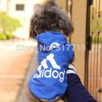 Free Shipping Pet Dog fashion Clothes Clothing Coat Hooded Cotton Sweater adidog