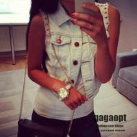2014 Gagaopt Russian brand women's vintage jeans outwear streetwear popular lady trend vest coats punk rivets