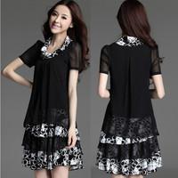 2014 fashion one-piece dress women's medium-long chiffon skirt slim plus size skirt