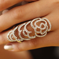 Free Shipping!2014 New Arrival High Qualitry Fashion Gorgeous Ring Shape Bezel Setting Rhinestone Double Ring for Women Gift