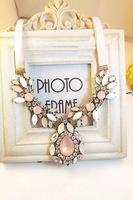 P Free shipping  Women Fashion Retro Big Rhinestone Crystal Bib Choker Statement Necklace Chain