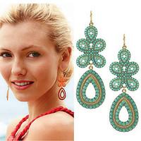 New Arrival Bohemian Design Imitation Gemstone Beads Water Drop Dangle Earrings Flower Pendant Earring for Women Bijoux