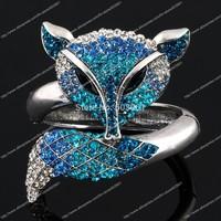 Huge Fox Animal Bracelet Bangle blue sapphire rhinestone Crystal fashion jewelry gift hinged charm alloy